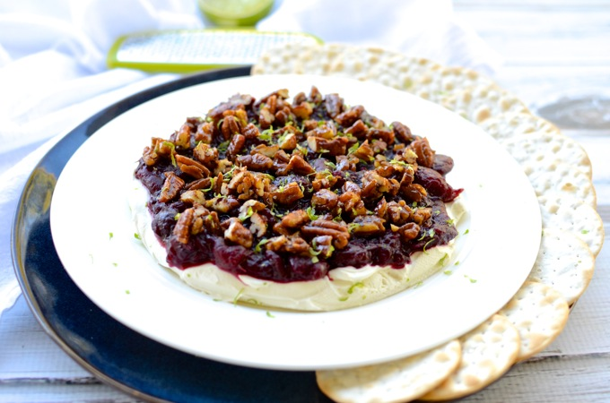 Cranberry Sauce Cream Cheese Dip with Candied Pecans is an easy, crowd-pleasing, beautiful holiday appetizer | www.mybottomlessboyfriend.com