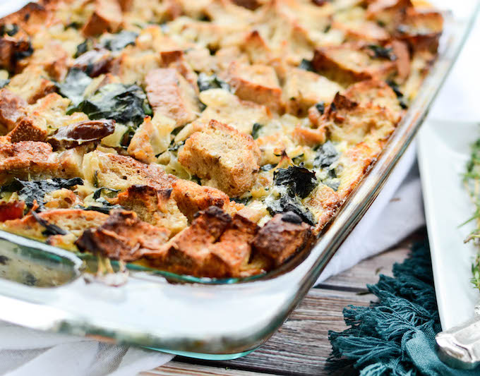 Turkey Sausage and Kale Bread Pudding is the best thing I've ever made. This recipe is a wonderful addition to any fall feast and can easily be made vegetarian. #sugarfree #thanksgivingi #fallrecipes   theeverykitchen.com