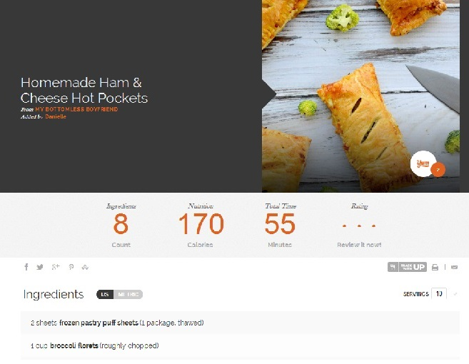 Example of a recipe page on Yummly   www.mybottomlessboyfriend.com