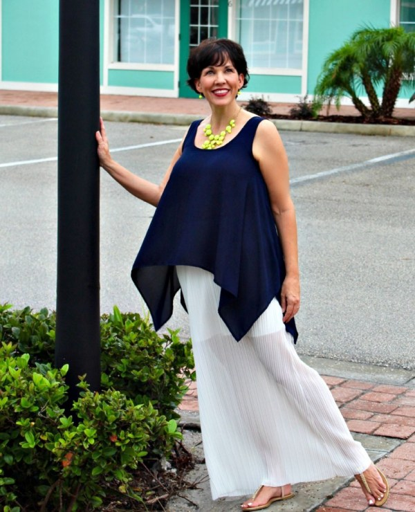 Navy Top and While Illusion Skirt