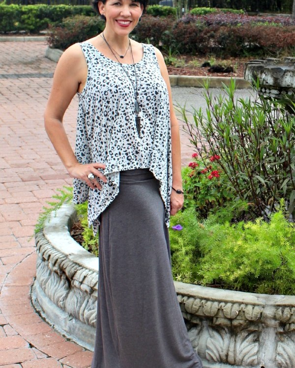 Gray Maxi Skirt.fashion over 40