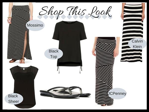 Shop This Look - B/W Striped Maxi Skirt