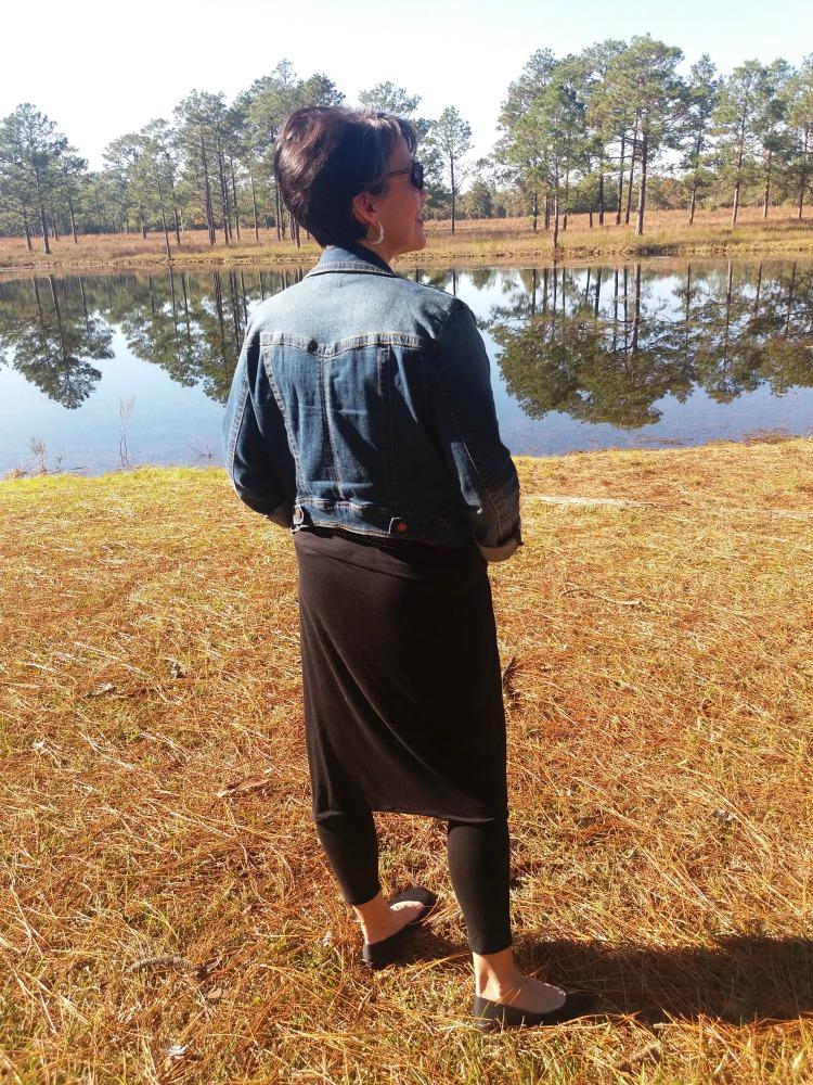 winter layering, skirt over leggings, denim jacket