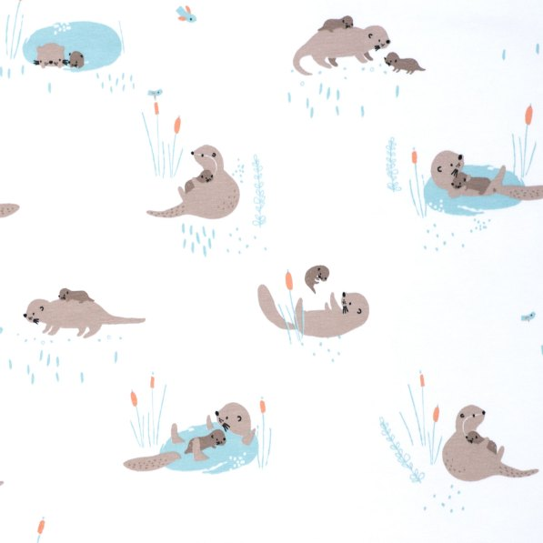 mummy and baby otters on white jersey fabric