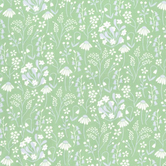 floral green poplin fabric