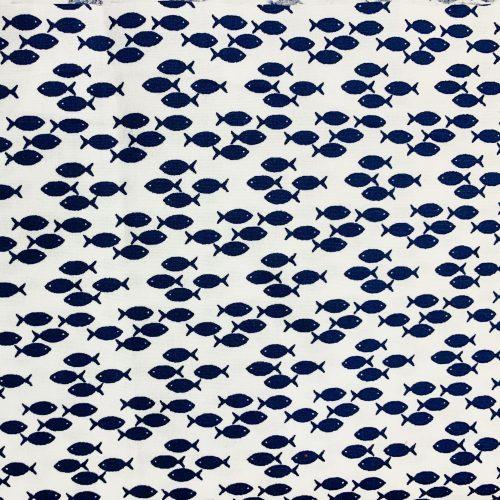 navy fish on white poplin