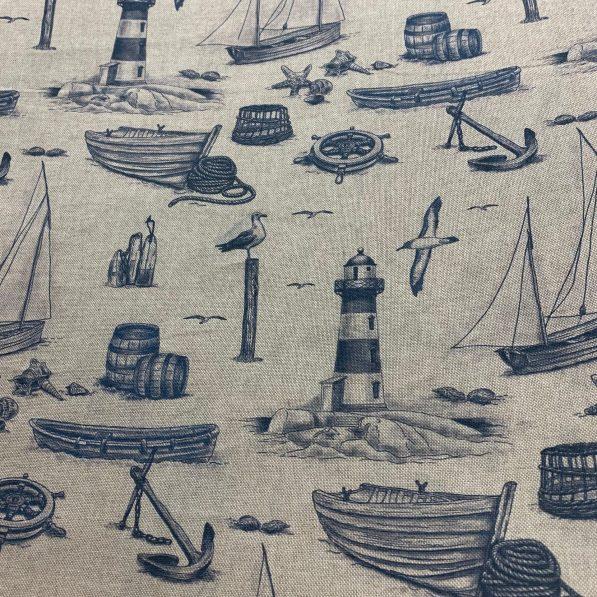 linen look indigo nautical print on ivory canvas