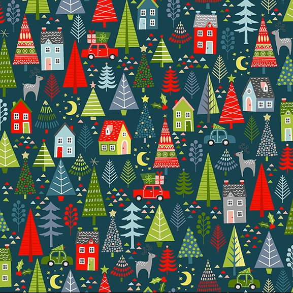 trees cars reindeer and houses on teal background
