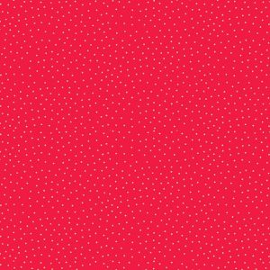 metallic spot print on red background fabric