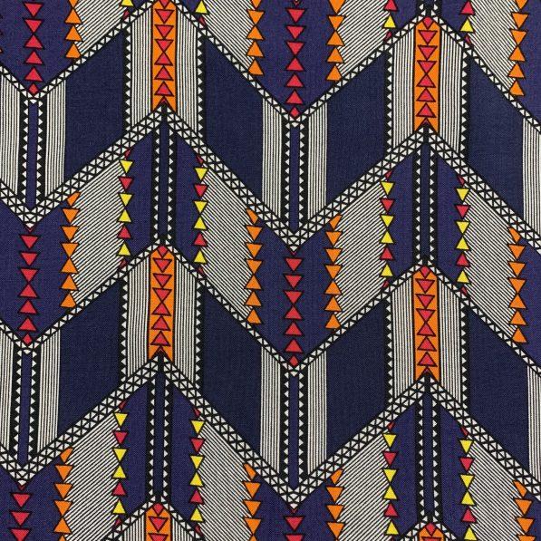 navy and orange viscose fabric