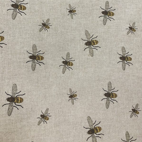 bee print linen look cotton canvas