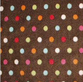 brown fleece with multi coloured dot
