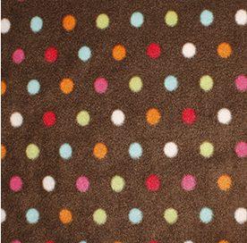brown fleece with multi coloured dot