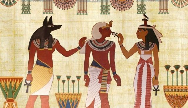 Picture of three ancient Egyptians.