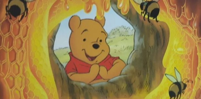 Winnie the Pooh excited to see honey