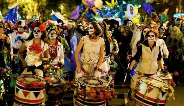 Halloween parade drummers