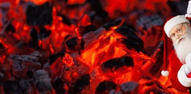 Burning coals with Sant on the right