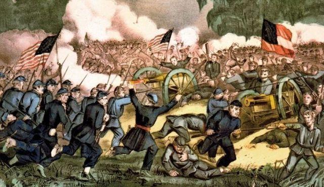 An illustration of the Battle of Gettysburg