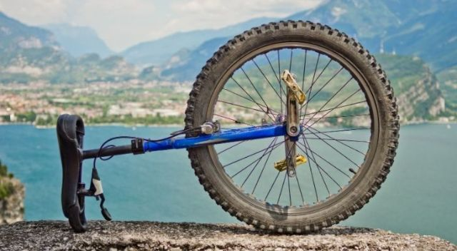 A blue unicycle