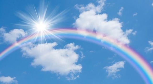 A rainbow and the sun in the sky