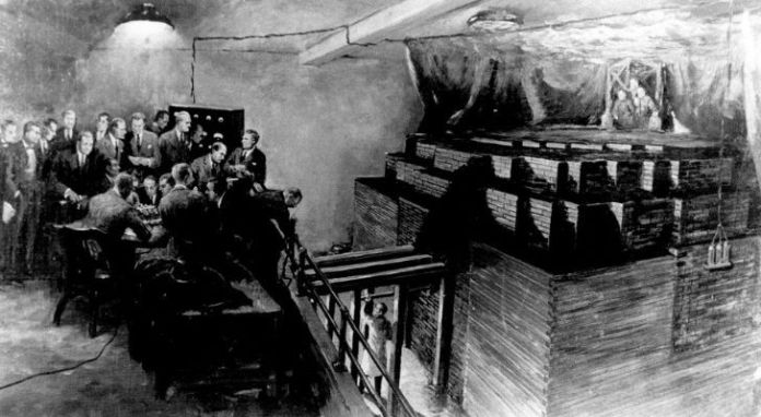 Drawing of Chicago's nuclear program with men working at the lab