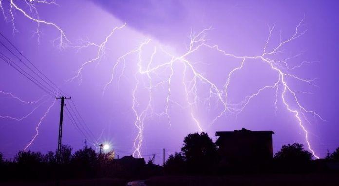 Lightning in a purple sky