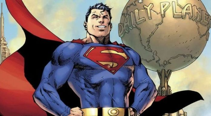 Superman outside Daily Planet where he works as a journalist