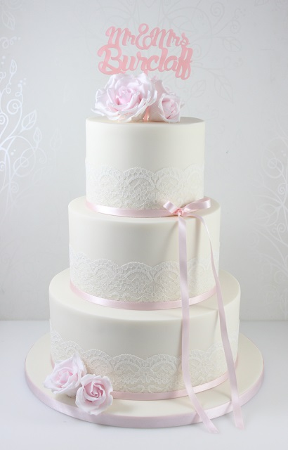 Wedding Cakes   The Fairy Cakery   Cake Decoration and Courses based         Click to enlarge image Pale pink lace and rose wedding cake jpg