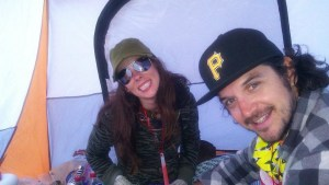 My husband and I in our tent at Coachella in 2012.