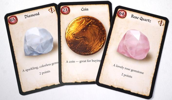 Cards: Diamond (2 points), Coin (great for buying things), Rose Quartz (2 points)
