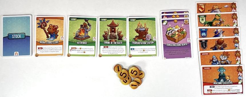 Cards, from left to right: stock, Miska Store Cleric, Autoforge, Shrine of the Kaiju, Transmutation Station, Dungeoneering Bento, a stack of adventurer cards topped with Draconic Executive