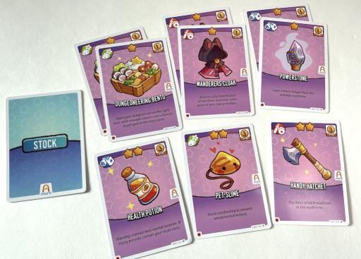Dungeoneering Bento, Wanderer's Cloak, Powerstone, Health Potion, Pet Slime, Handy Hatchet