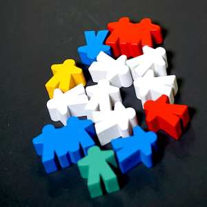 11 regular meeples in various colors. A red double meeple and a blue double meeple.