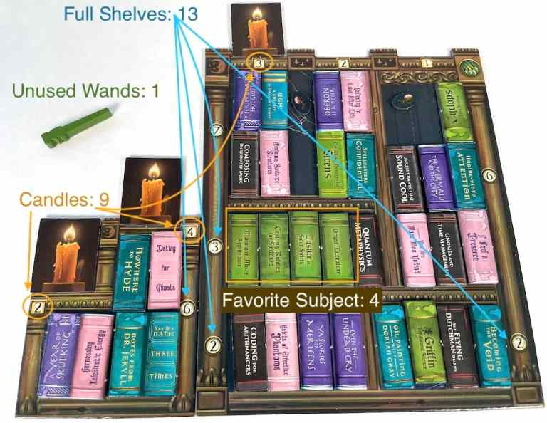 Full Shelves: 13; Unused Wands: 1; Candles: 9; Favorite Subject: 4