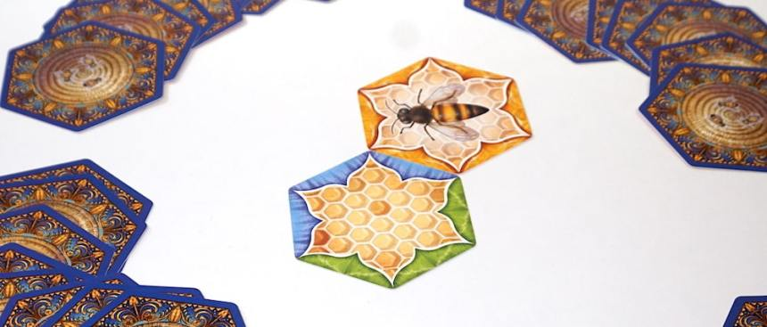 The Bears and the Bees setup: Queen bee and a green/blue honeycomb hexagon