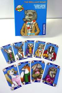"""Box labeled """"The Brilliant Boar: The brain-training memory game for the whole family.""""  Nine different animal cards splayed out below the box."""