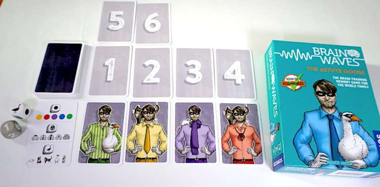 The Astute Goose - cards laid out with numbers 1-4. Under each numbered card is a card depicting a man holding a pet animal.