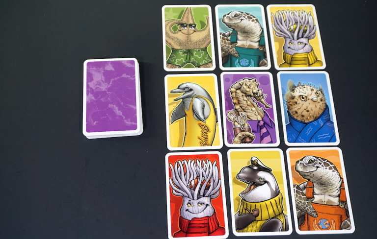 3x3 grid of face up cards. Each card has a sea creature and a color.