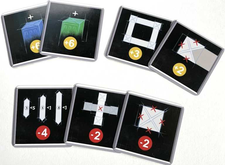 5 cards with black backgrounds. From top left: blue +6, green +6, circle +3, 1 walkway +2, 3/5/8 -4, X -2, empty tower -2