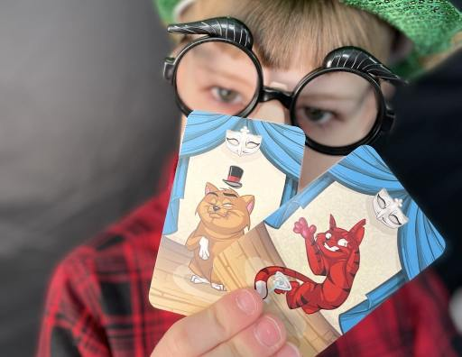 Boy wearing silly disguise glasses. His face is mostly obscured by two cat cards from Cloaked Cats.