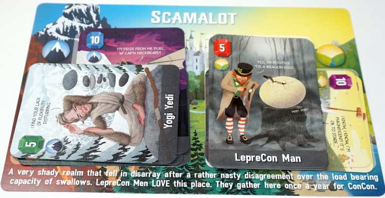 Scamalot kingdom. Visible: Yogi Yeti and LepreCon Man.