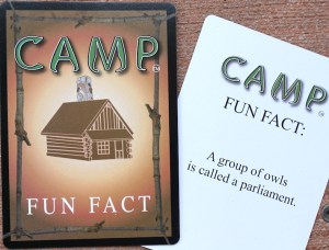 Camp fun fact card