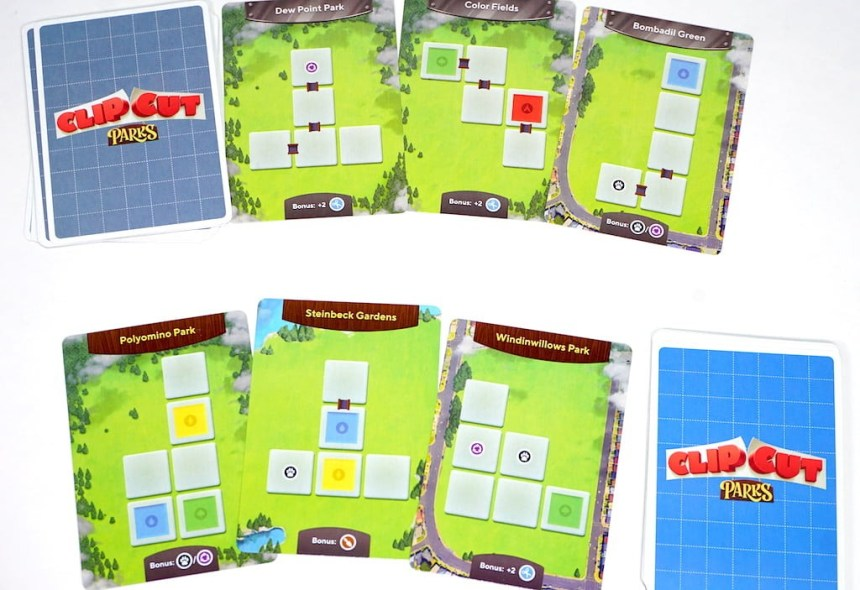 Clip Cut Parks cards. Top row: Dew Point Park, Color Fields, Bombadil Green. Bottom row: Polyomino Park, Steinbeck Gardens, Windinwillows Park