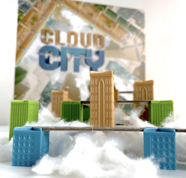 Cloud City game - towers are in front and box is blurredin back