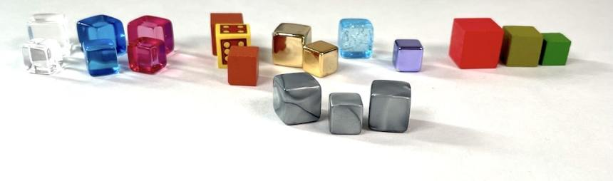 An assortment of wooden and plastic cubes from Dungeon Drop