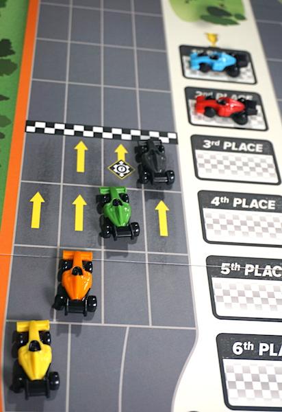 Cars cross the finish line