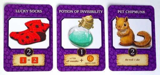 "Dragonrealm enhancement cards: ""Lucky Socks"", ""Potion of Invisibility"", ""Pet Chipmunk"""