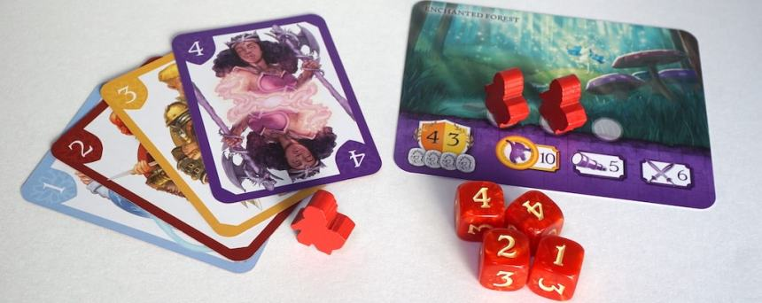 "Cards 1,2,3,4 with a red meeple. Dice showing 4,4,2,1. Location ""Enchanted Forest"" with two red meeples on it."