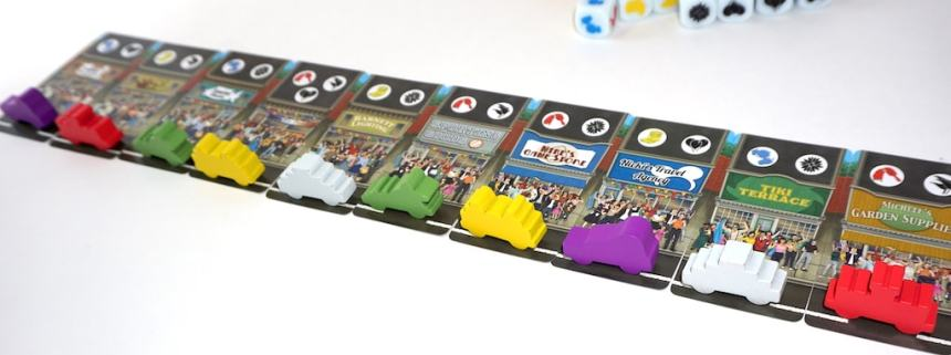 10 colored parade cars sit on 10 crowd cards from Everyone Loves a Parade
