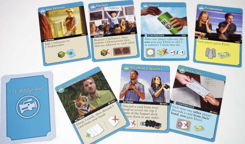 Endangered game cards for TV Wildlife Host. Top row: Sign Petition, Protest, Donate, Fundraising. Bottom row: Commercial, WildWorld Season 1, Royalties.